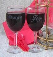 Bunco Wine glass Name Etched Free