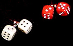 Dice earrings, Red earrings,Bunco, Black, White, Dice earrings