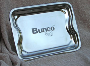 Bunco Serving Tray Stainless steel with etched Bunco and Dice 010222B